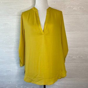 Impressions Women's Yellow Long Sleeve Blouse LG